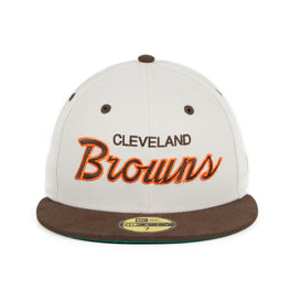 Exclusive New Era 59Fifty Cleveland Browns Script Hat - 2T Stone, Brown