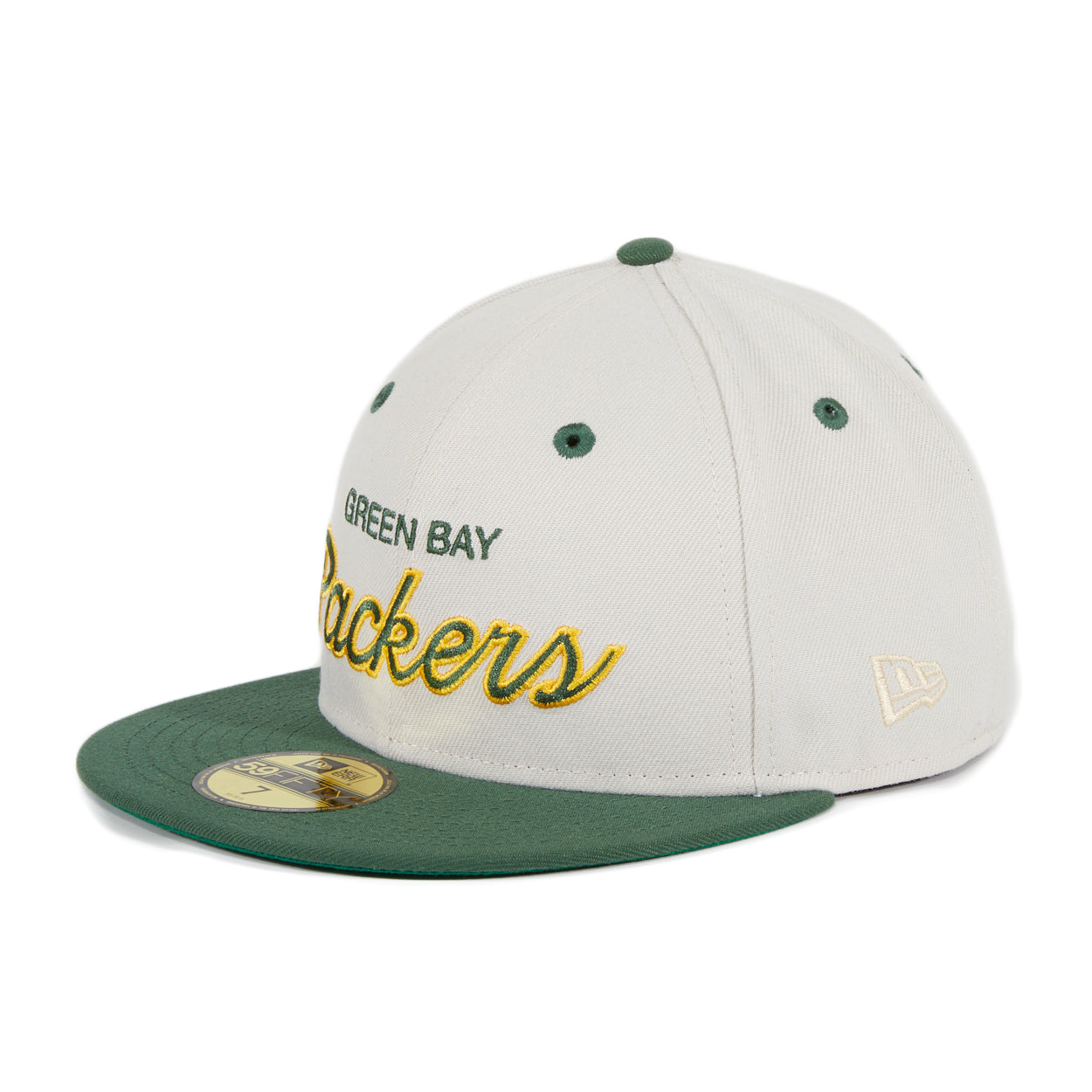Exclusive New Era 59Fifty Green Bay Packers Script Hat - 2T Stone, Green