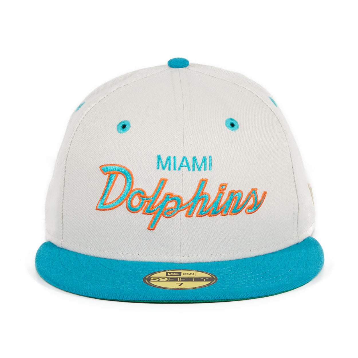 Exclusive New Era 59Fifty Miami Dolphins Script Hat - 2T Stone, Teal