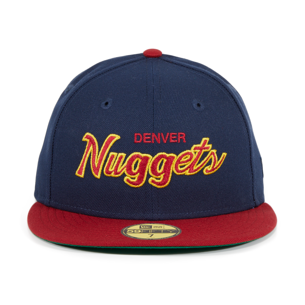 Exclusive New Era 59Fifty Denver Nuggets Script Hat - 2T Navy, Cardinal