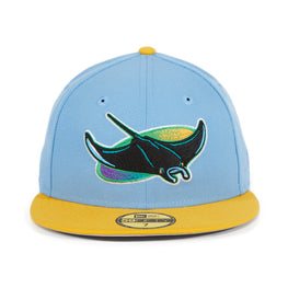 Exclusive New Era 59Fifty Tampa Bay Devil Rays Hat - 2T Light Blue, Gold