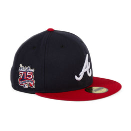Exclusive New Era 59Fifty Atlanta Braves 715 25th Anniversary Hat - 2T Navy, Red