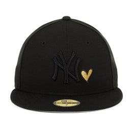 Exclusive New Era 59Fifty New York Yankees Heart Hat - Black, Black, Metallic Gold
