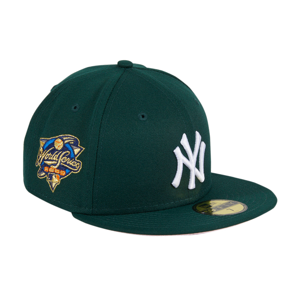 Exclusive New Era 59Fifty New York Yankees World Series 2000 Patch Pink UV Hat - Green, White