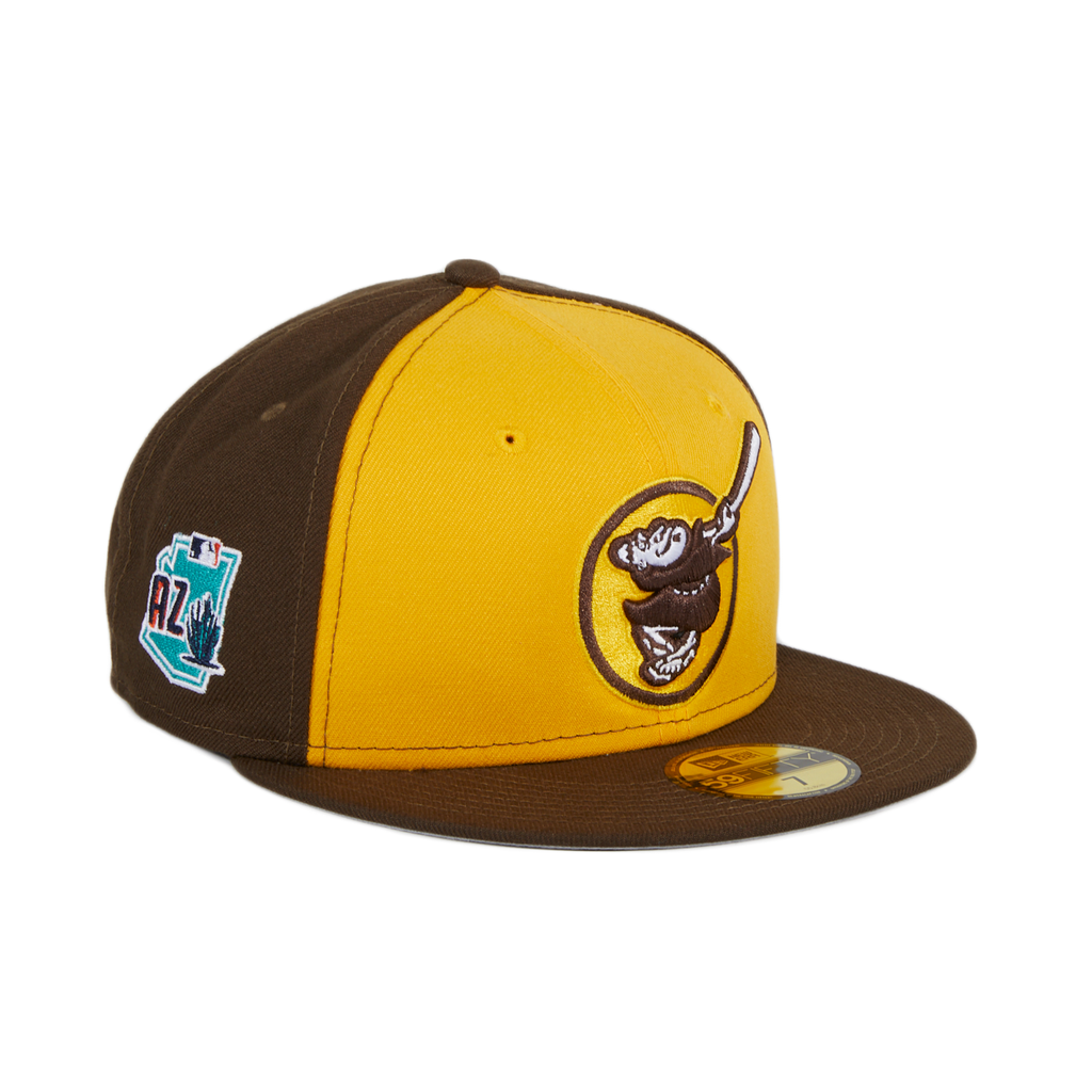 Exclusive New Era 59Fifty San Diego Padres Friar Alternate Spring Training 2020 Patch Rail Hat - Gold, Brown
