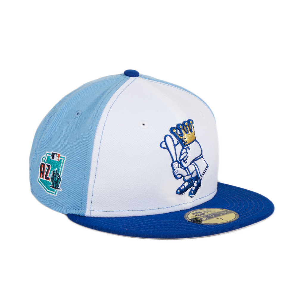 Exclusive New Era 59Fifty Kansas City Royals Mr Royal Spring Training 2020 Patch Rail Hat - White, Light Blue