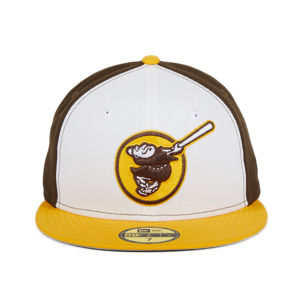 Exclusive New Era 59Fifty San Diego Padres Friar Alternate Rail Hat - 2T White, Brown, Gold