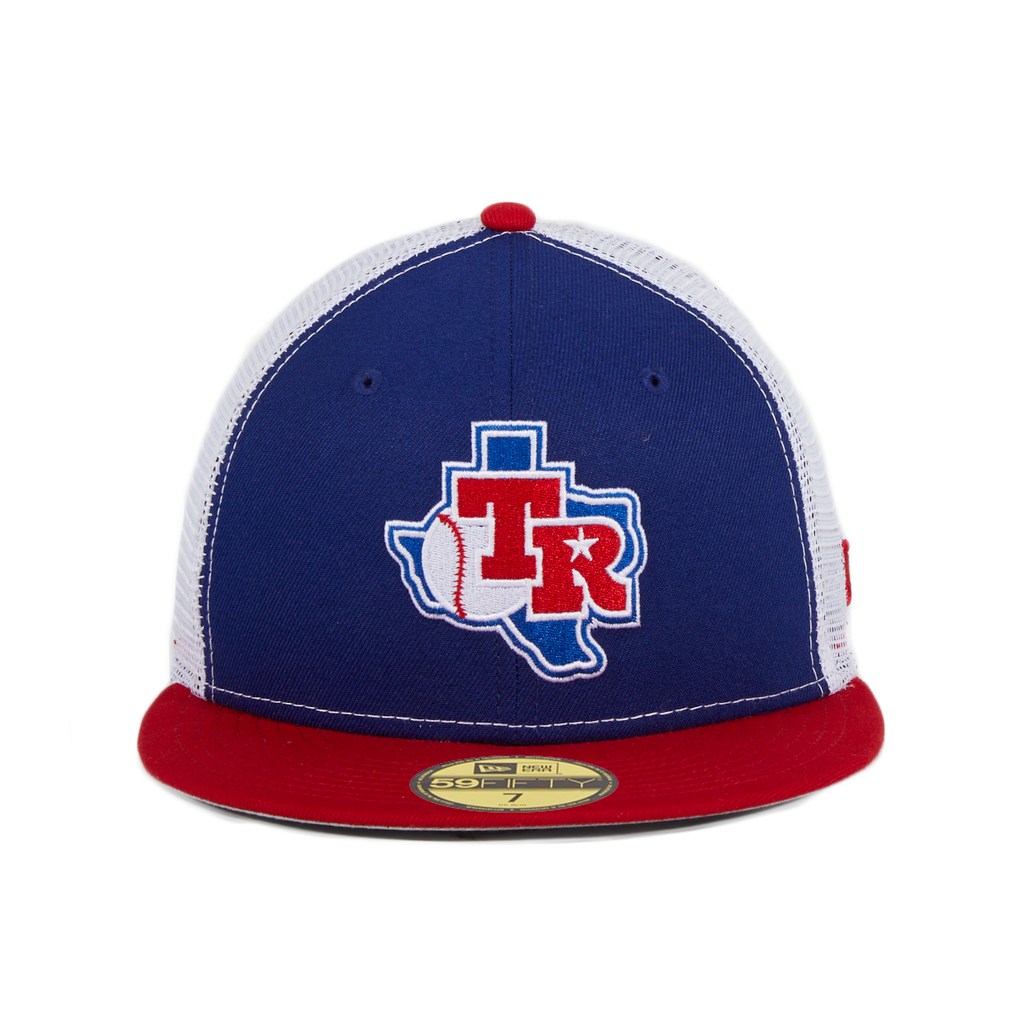 Exclusive New Era 59Fifty Texas Rangers 1982 Logo Trucker Hat - Royal, White, Red