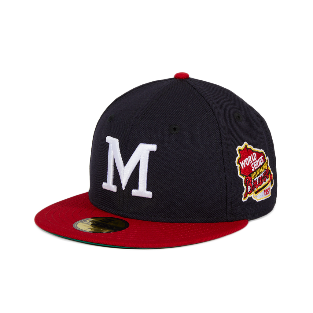 New Era 59Fifty Milwaukee Braves 1957 World Series Patch Hat - Navy, Red