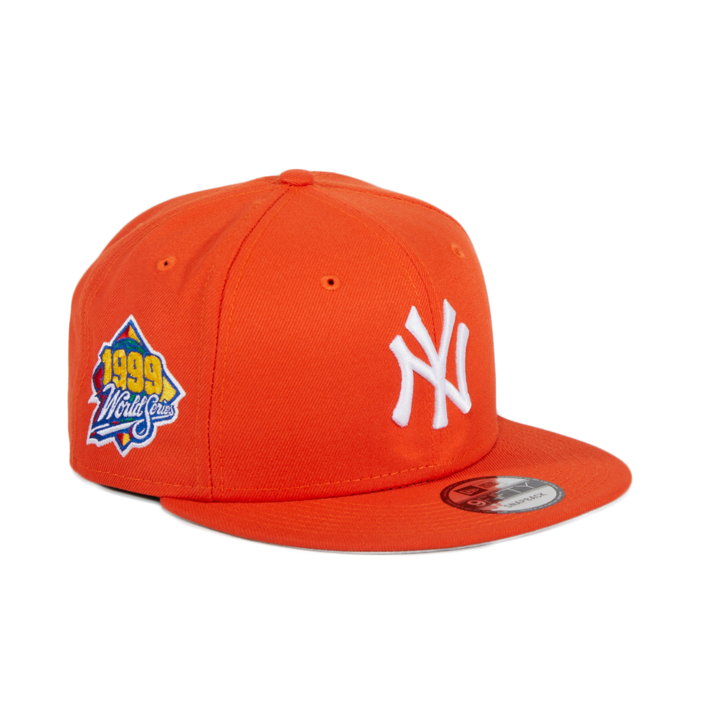Exclusive 9fifty New York Yankees World Series 1999 Patch Snapback Hat - Orange, White