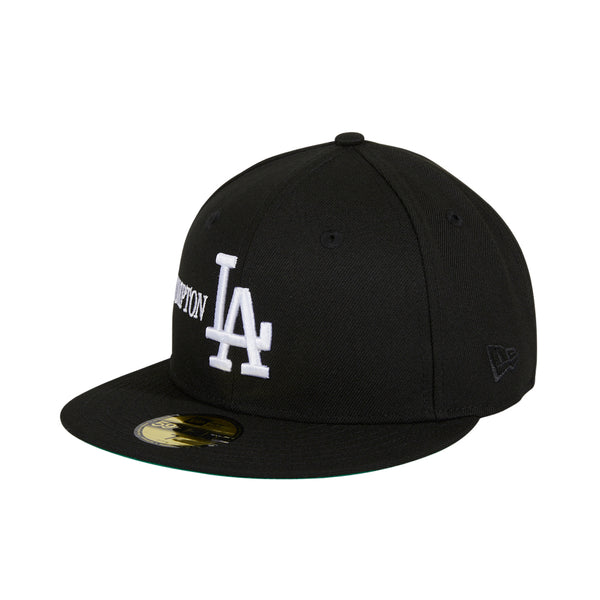 City of Los Angeles with small usa flag White 2 logos Hat Black SnapBack