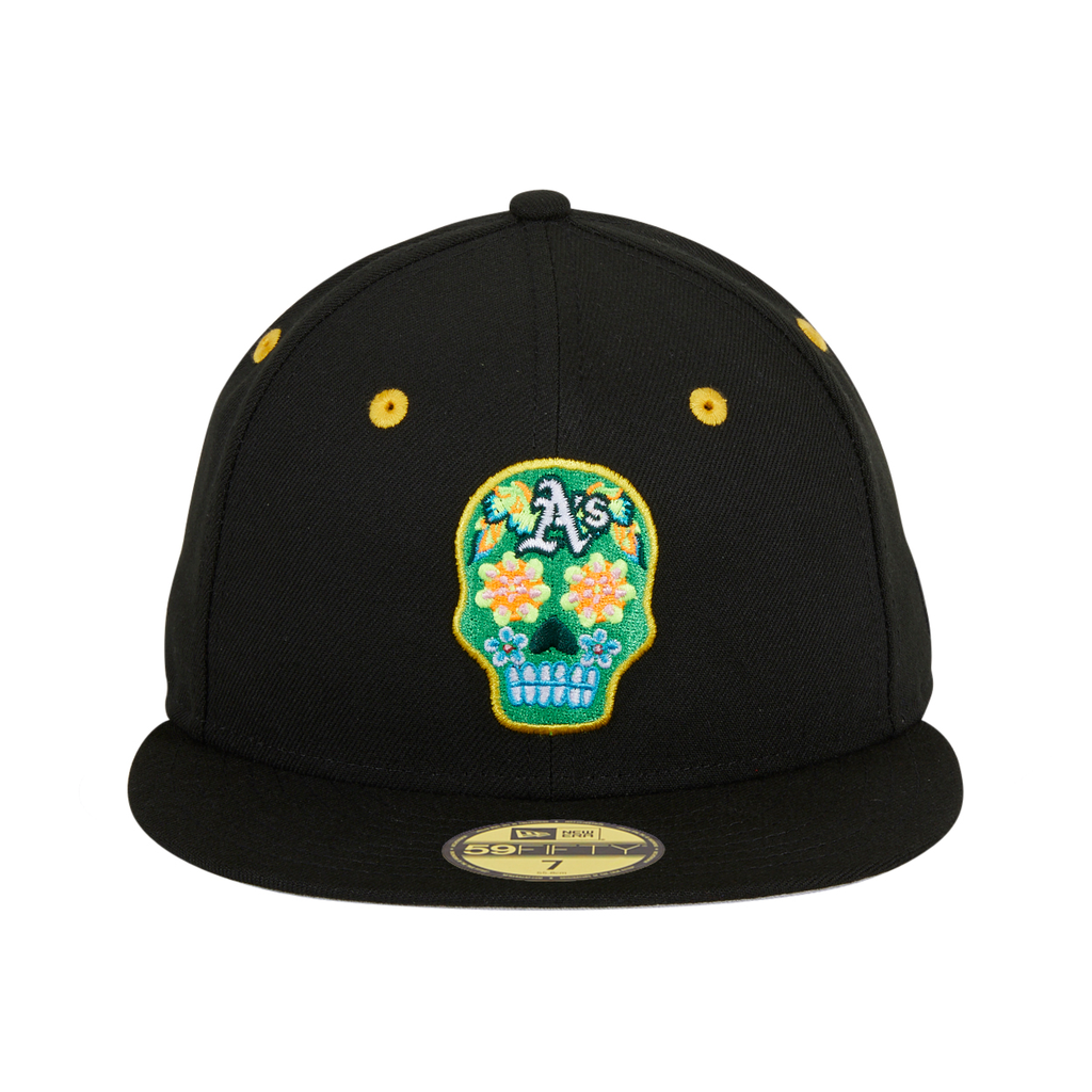 Exclusive New Era 59Fifty Oakland Athletics Neon Sugar Skull Hat - Black