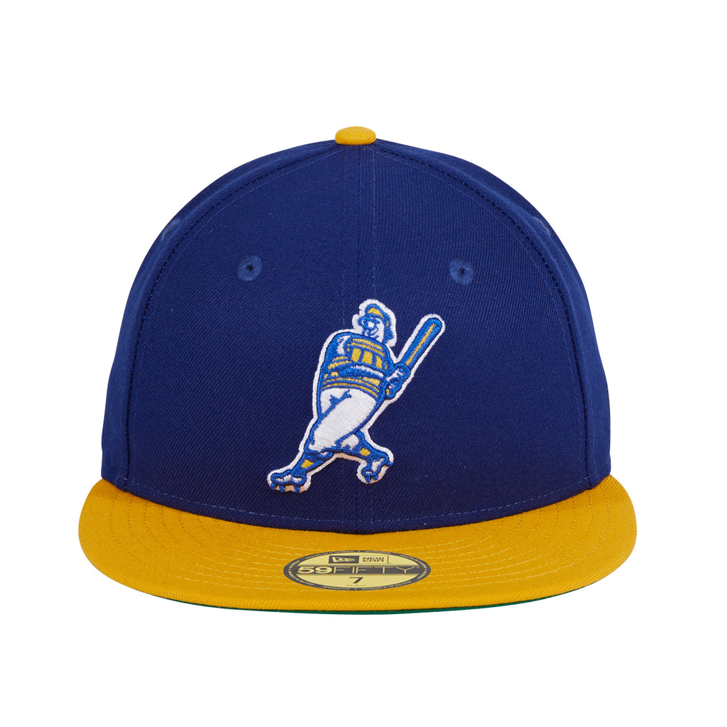 New Era 59Fifty Milwaukee Brewers Barrelman Logo Hat- Royal, Gold