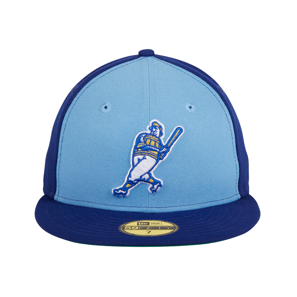 New Era 59Fifty Milwaukee Brewers Barrelman Rail Hat- Light Blue, Royal