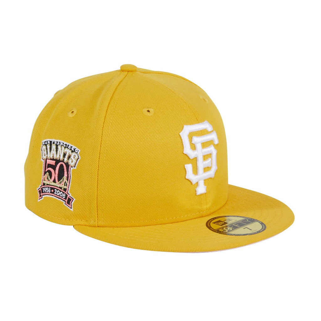 Pre-order Exclusive New Era 59Fifty San Francisco Giants 50th Anniversary Patch W/ Pink UV Hat - Gold, White