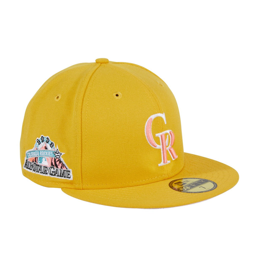 Pre-order Exclusive New Era 59Fifty Colorado Rockies 1998 All Star Game Patch W/ Pink UV Hat - Gold, White