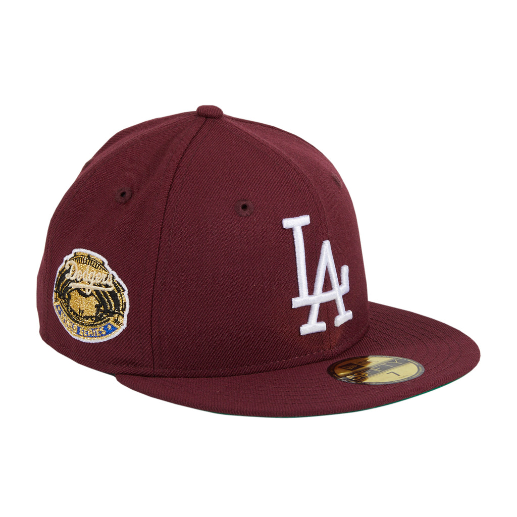 Exclusive New Era 59Fifty Merlot Los Angeles Dodgers 1963 World Series Patch Hat - Maroon, White