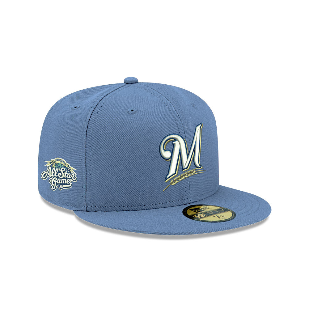 Pre-order Exclusive New Era 59Fifty Milwaukee Brewers 2002 All Star Game Patch Pink UV Hat - Indigo