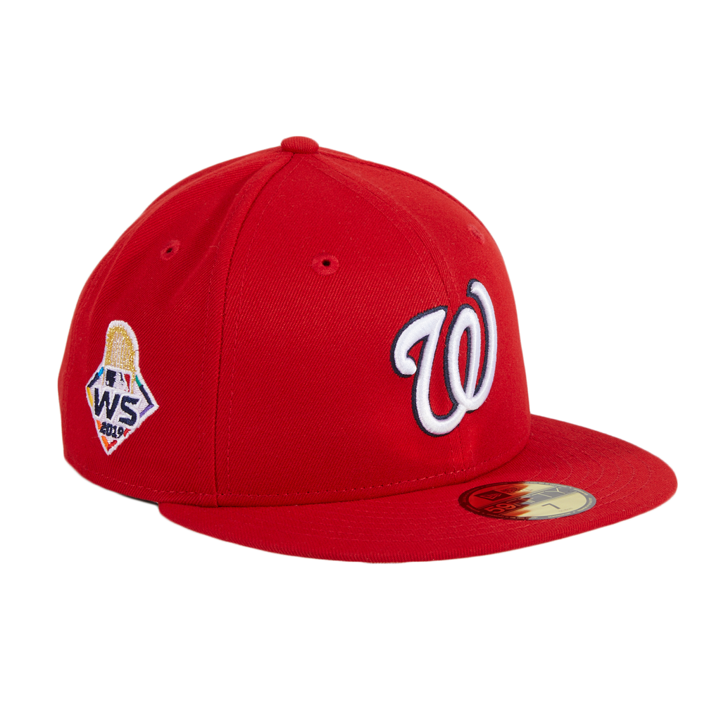 Exclusive New Era 59Fifty Washington Nationals 2019 World Series Patch w/ Pink UV Hat - Red