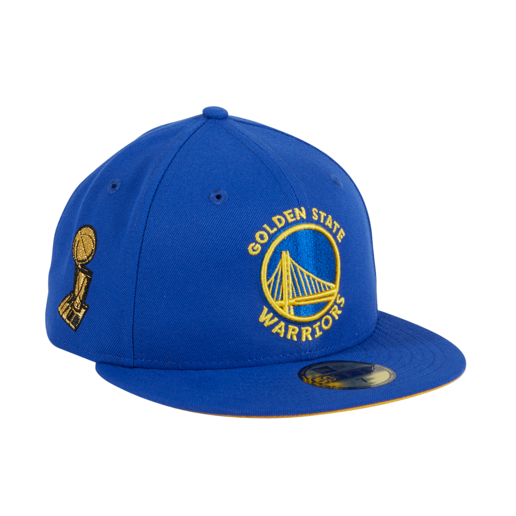 Exclusive New Era 59Fifty Golden State Warriors Trophy Gold UV Hat - Royal