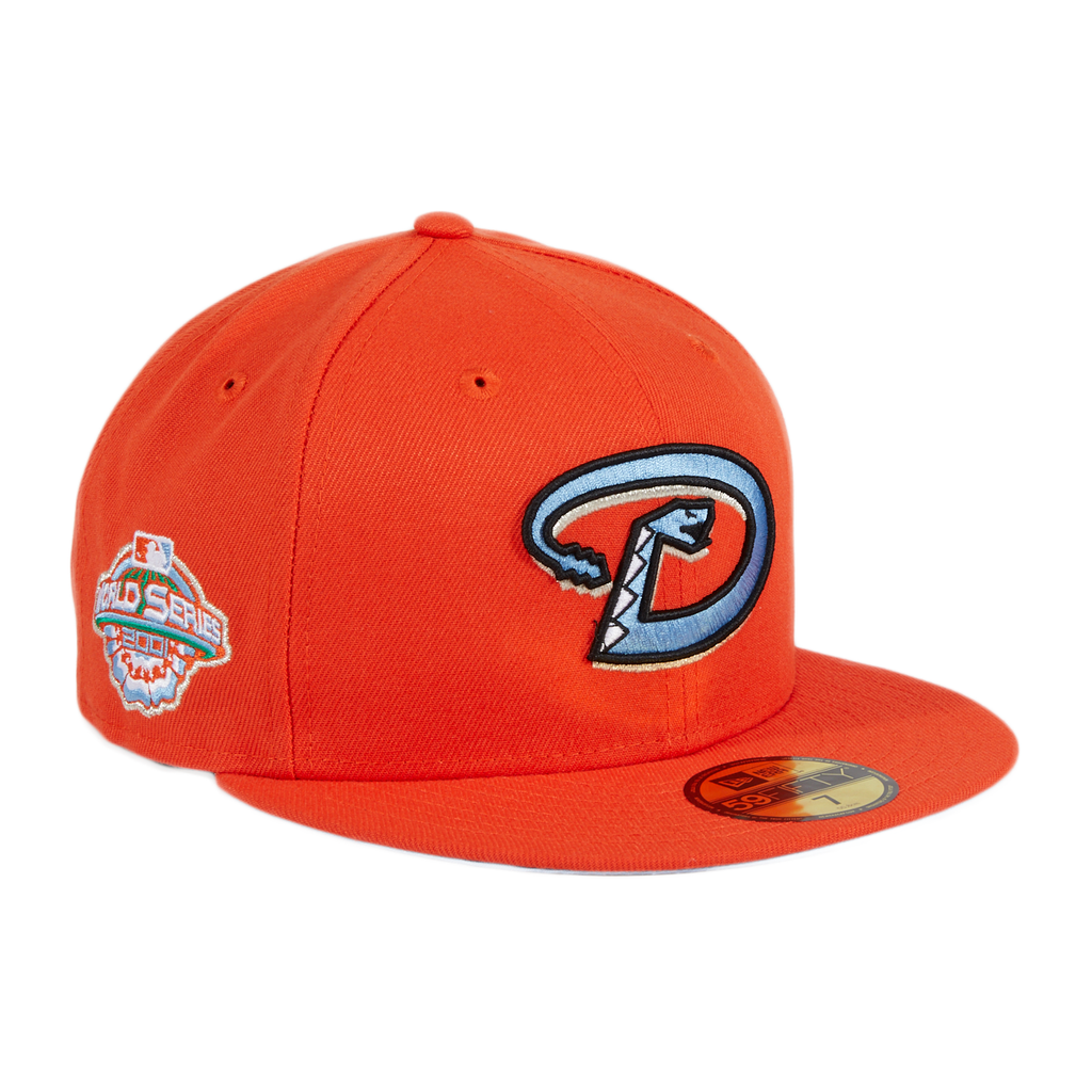 Exclusive New Era 59Fifty Frozen Tangerine Arizona Diamondbacks 2001 World Series Patch Light Blue UV D Hat - Orange