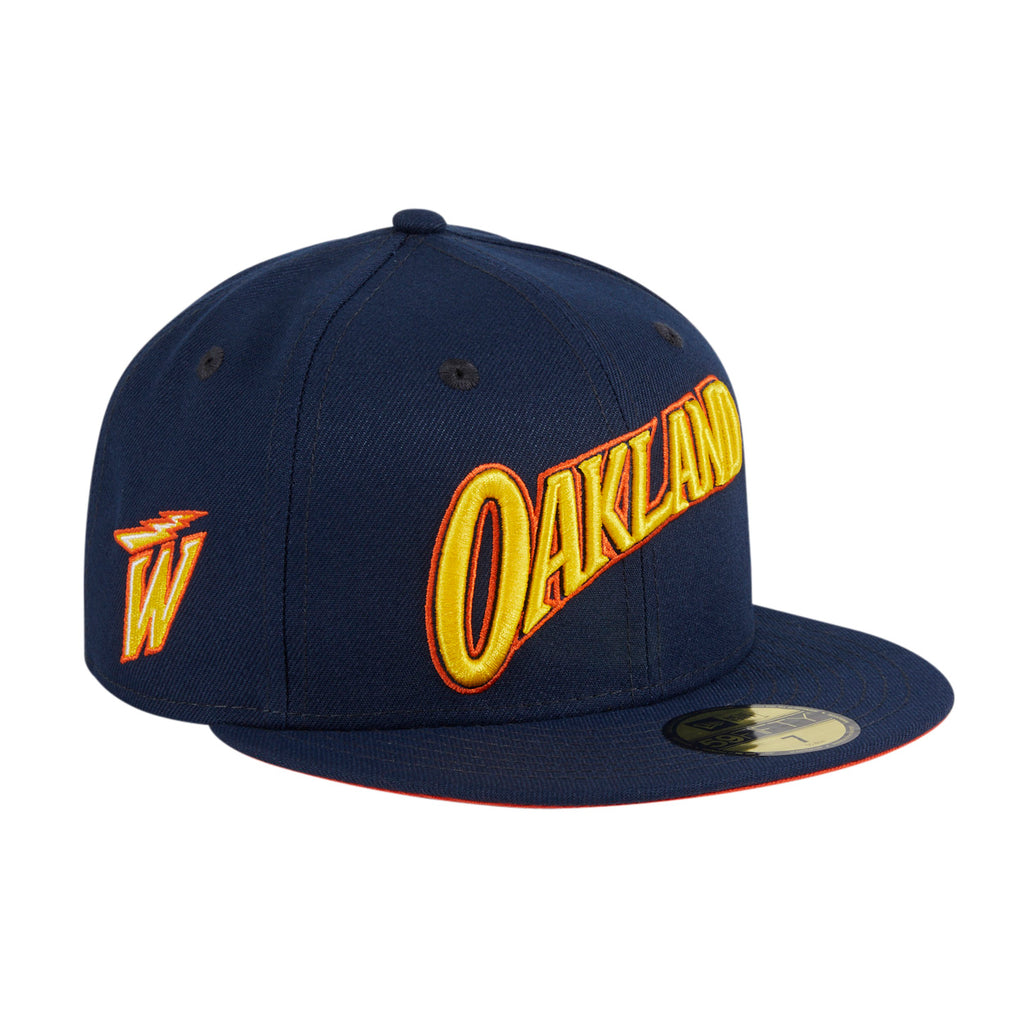 New Era 59Fifty Golden State Warriors City 2021 Orange UV Word Hat - Navy