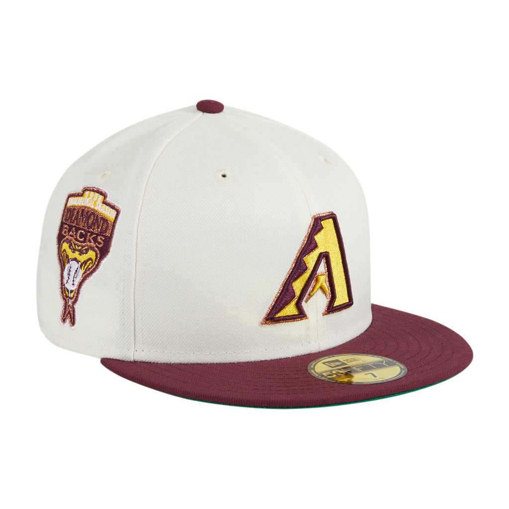 Exclusive New Era 59Fifty Panna Cotta Arizona Diamondbacks Inaugural Patch A Hat - White, Maroon