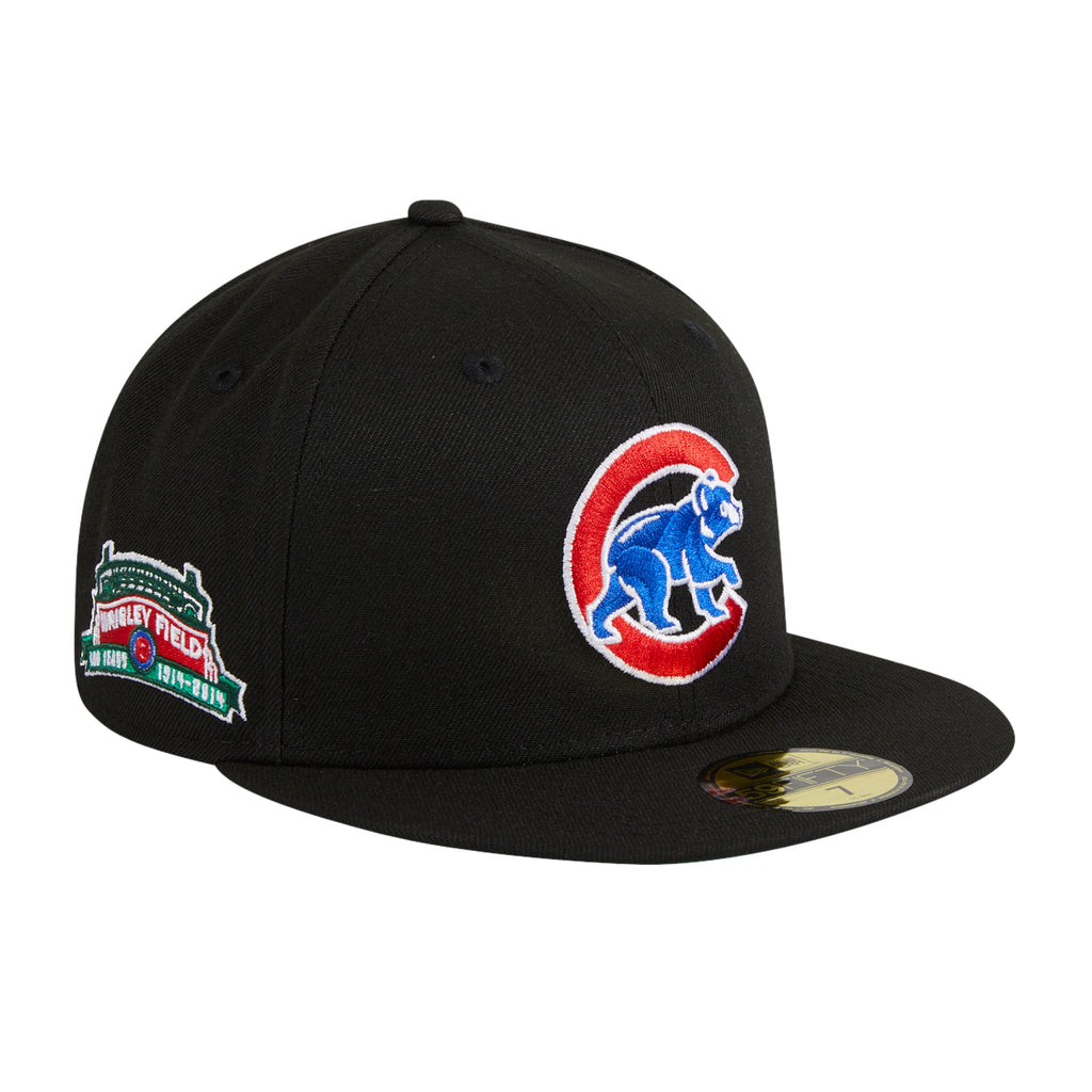 Exclusive New Era 59Fifty Black Dome Chicago Cubs Wrigley Field Patch Alternate Hat - Black