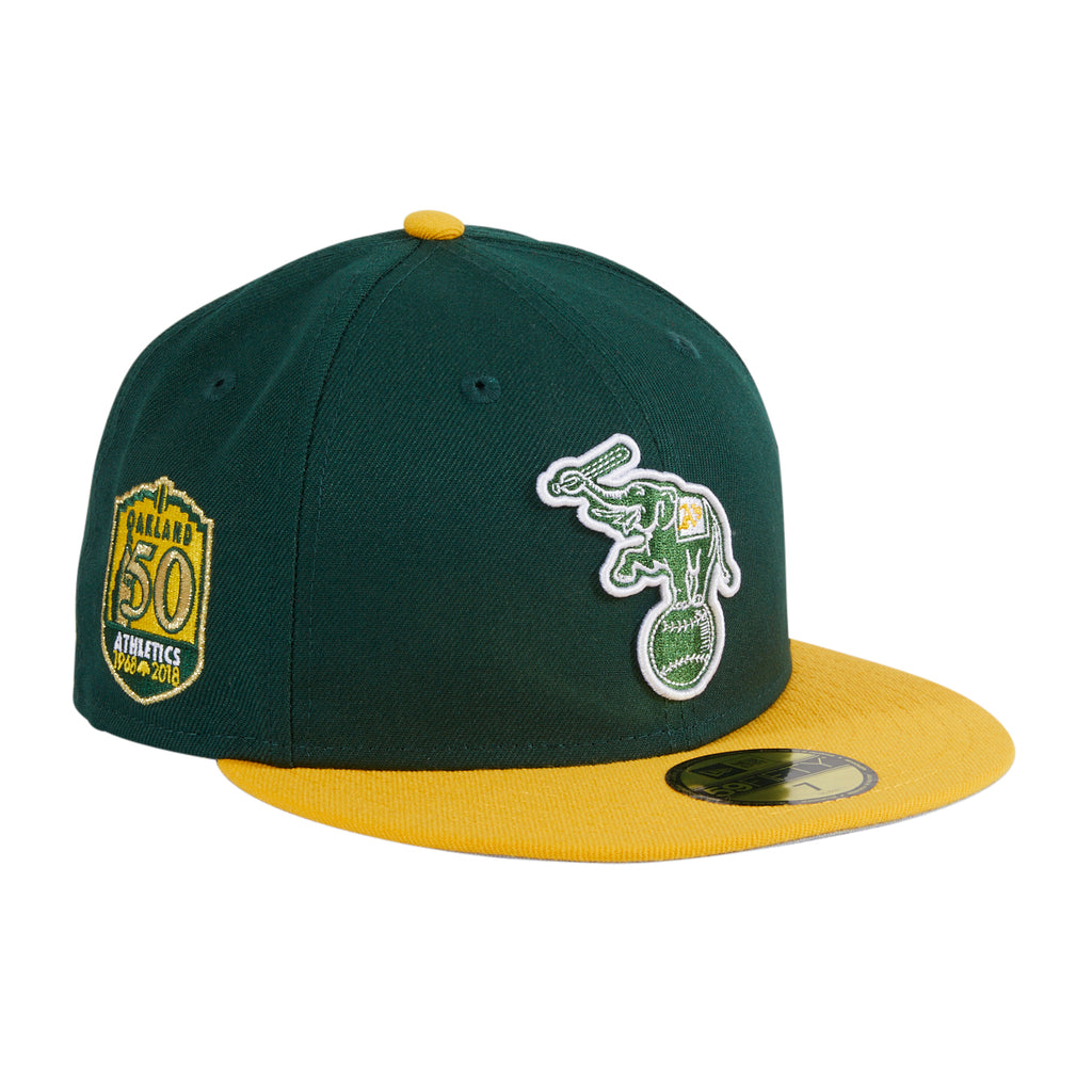 Exclusive New Era 59Fifty Oakland Athletics 50th Anniversary Patch Alternate Hat - Green, Gold