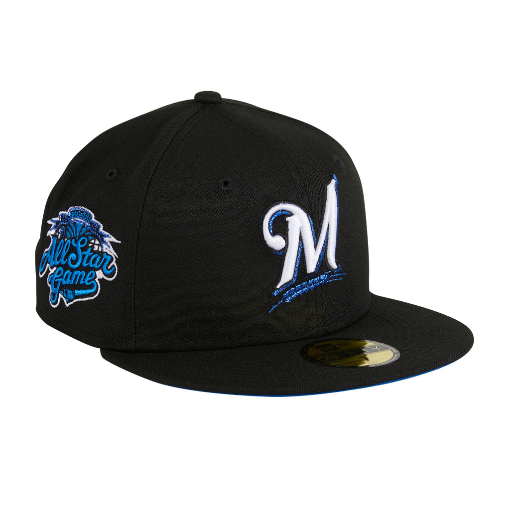 Exclusive New Era 59Fifty Blackberry Milwaukee Brewers 2002 All Star Game Patch Royal UV Hat - Black, Royal