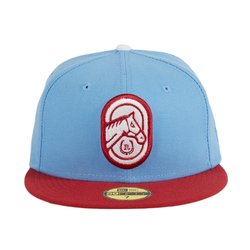 Exclusive New Era 59Fifty Thrill SF Richmond Thoroughbreds Hat-  Light Blue, Cardinal