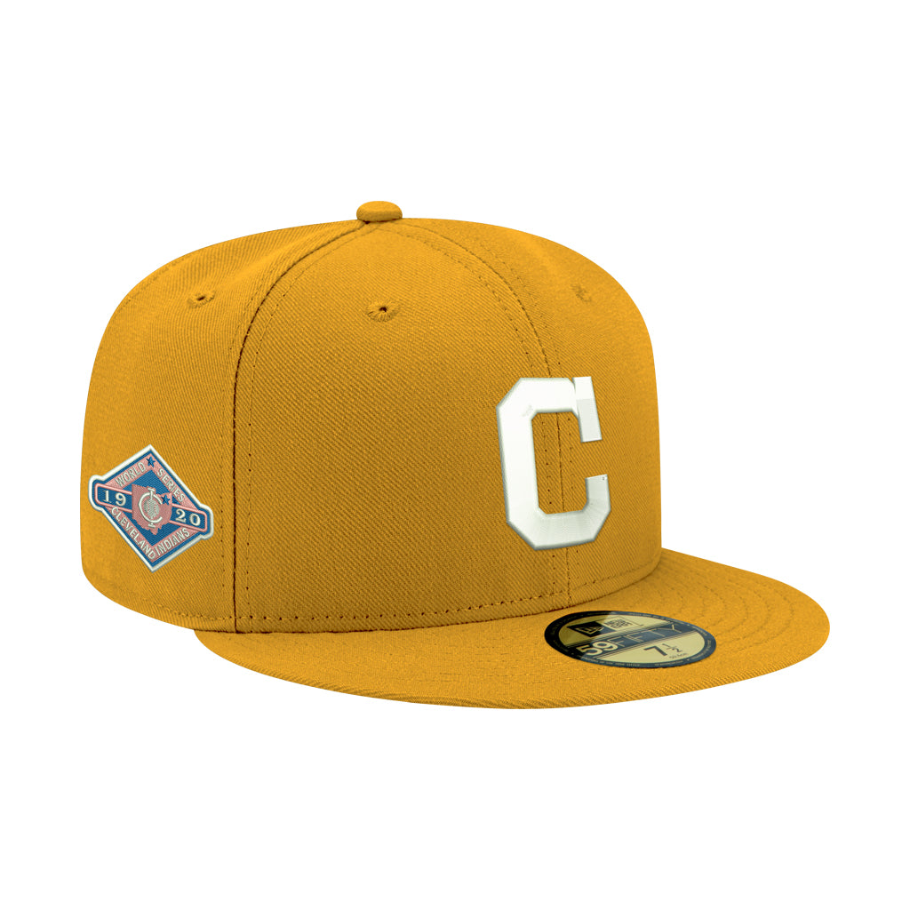 Pre-order Exclusive New Era 59Fifty Cleveland Indians 1920 World Series Patch W/ Pink UV Hat - Gold, White