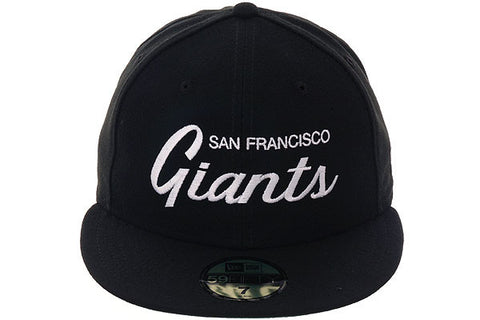 New Era 59Fifty San Francisco Giants Script Fitted Hat - Black, White