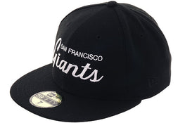 Exclusive New Era 59Fifty San Francisco Giants Script Hat - Black, White