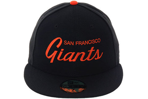 New Era 59Fifty San Francisco Giants Script Fitted Hat - Black, Orange