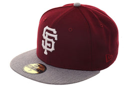 Exclusive New Era 59Fifty San Francisco Giants Hat - 2T Maroon, Heather Gray