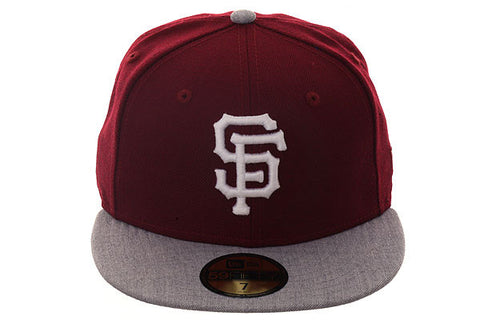 New Era 59Fifty San Francisco Giants Fitted Hat - 2T Maroon, Heather Gray