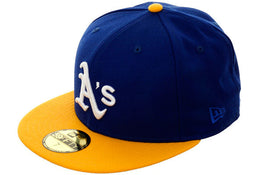 Exclusive New Era 59Fifty Oakland Athletics Hat - 2T Royal, Gold