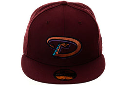 Exclusive New Era 59Fifty Arizona Diamondbacks Fitted Hat - Maroon, Metallic Copper