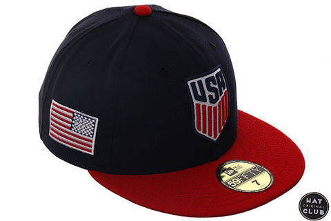 Hat Club Original New Era 59Fifty Team USA Fitted Hat - 2T Navy, Red