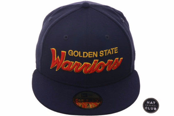 Hat Club Exclusive New Era 59Fifty Golden State Warriors Script Fitted Hat - Navy, Orange, Gold