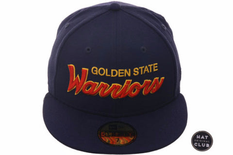 Hat Club Original New Era 59Fifty Golden State Warriors Script Fitted Hat - Navy, Orange, Gold