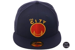 "Exclusive New Era 59Fifty Golden State Warriors ""The City"" Hat - Light Navy, Orange, Gold"