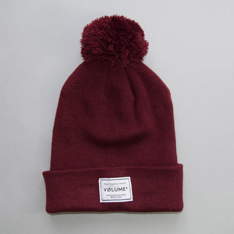 Volume One Burgundy Bobble Beanie