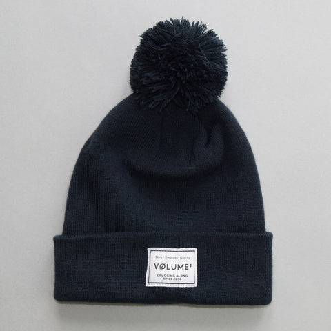 Volume One Navy Bobble Beanie