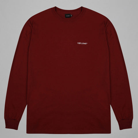 Volume One Maroon Long Sleeve Logo Tee