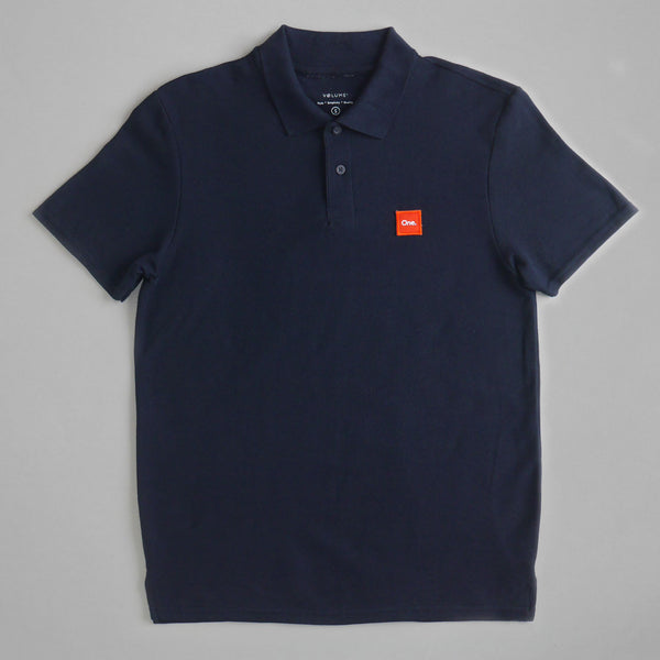 Volume One Navy Embroidered Patch Polo Tee