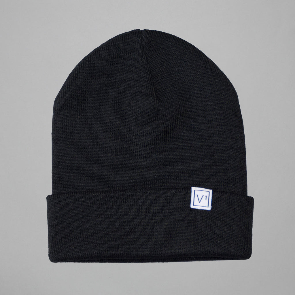 Volume One Black Woven Label Beanie