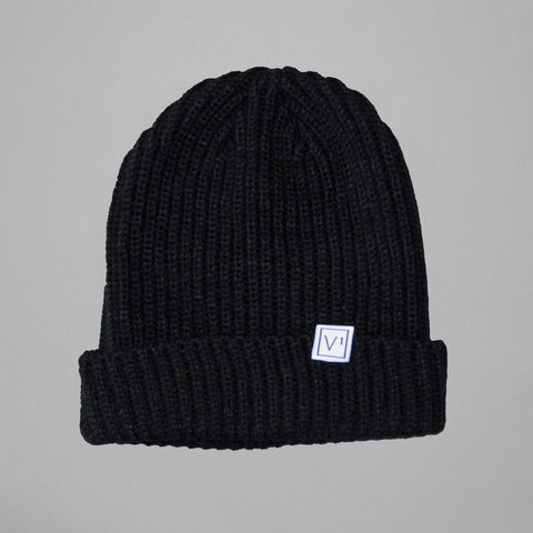 Volume One Black Woven Label Trawler Beanie