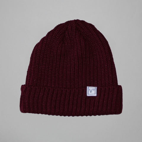 Volume One Burgundy Woven Label Trawler Beanie